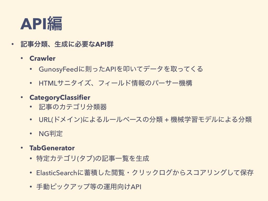 APIฤ • هྨɺੜʹඞཁͳAPI܈ • Crawler • GunosyFeedʹଇ...