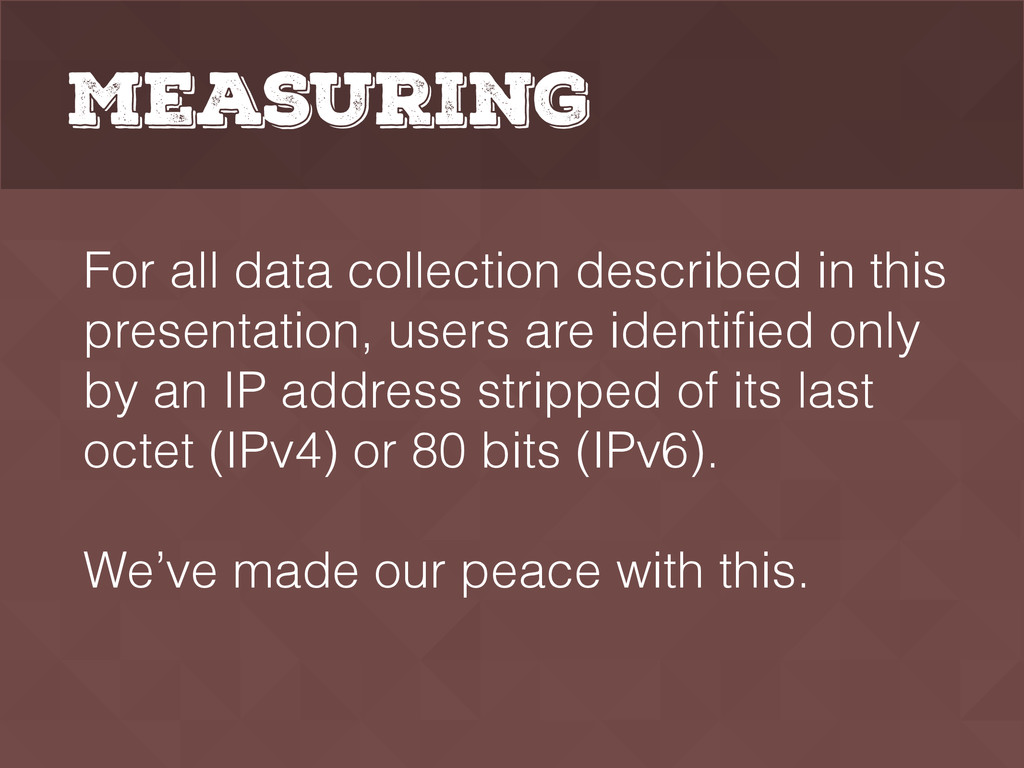 Measuring For all data collection described in ...