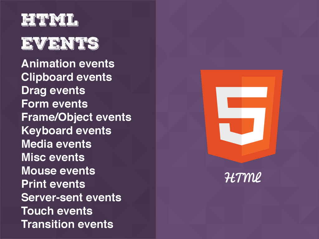 HTML Events Animation events Clipboard events D...