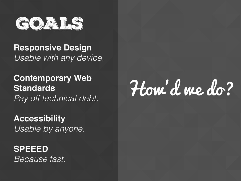 How'd we do? GOALS Responsive Design Usable wit...