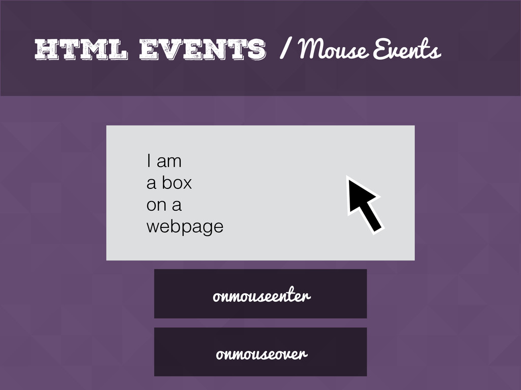 HTML Events / Mouse Events onmouseenter I am a ...