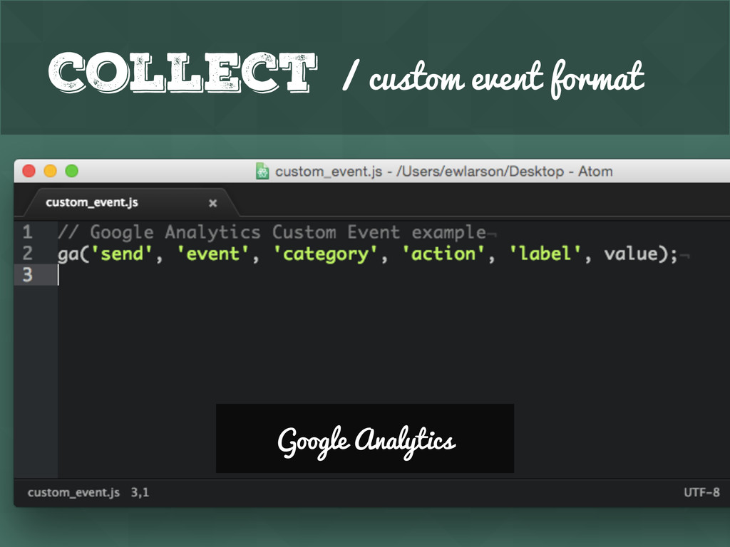 Collect / custom event format Google Analytics