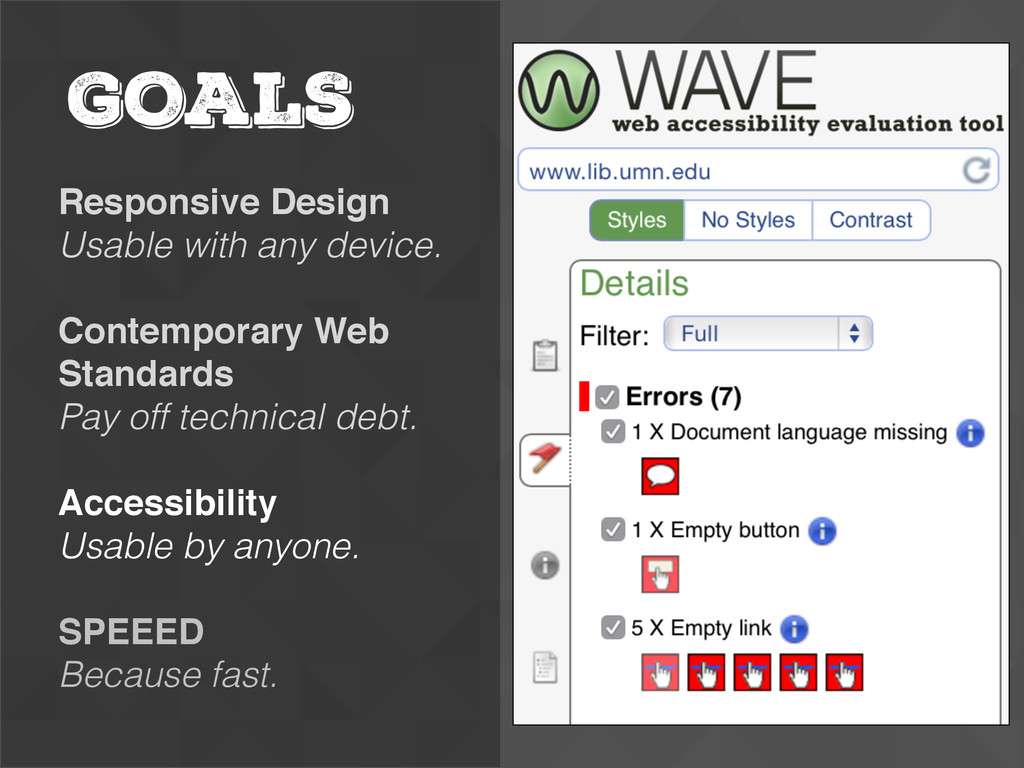 GOALS Responsive Design Usable with any device....