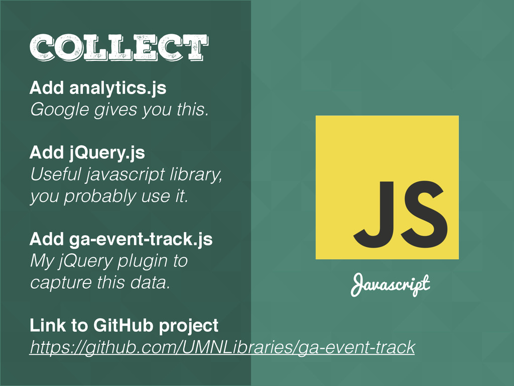 Javascript COLLECT Add analytics.js Google give...