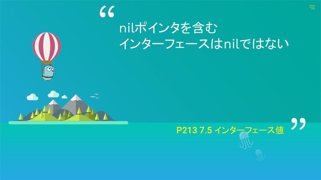 P213 7.5 インターフェース値 nilポインタを含む インターフェースはnilではない