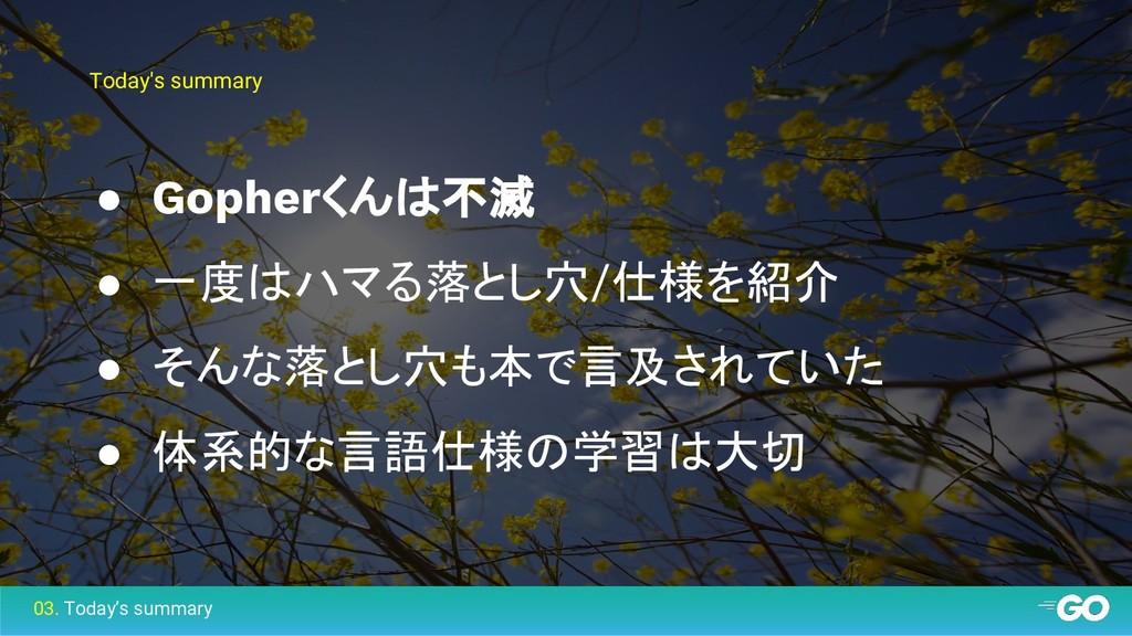 Today's summary ● Gopherくんは不滅 ● 一度はハマる落とし穴/仕様を紹...