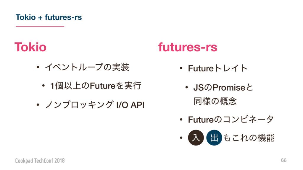 Tokio + futures-rs 66 ɾΠϕϯτϧʔϓͷ࣮ ɾ1ݸҎ্ͷFutureΛ...