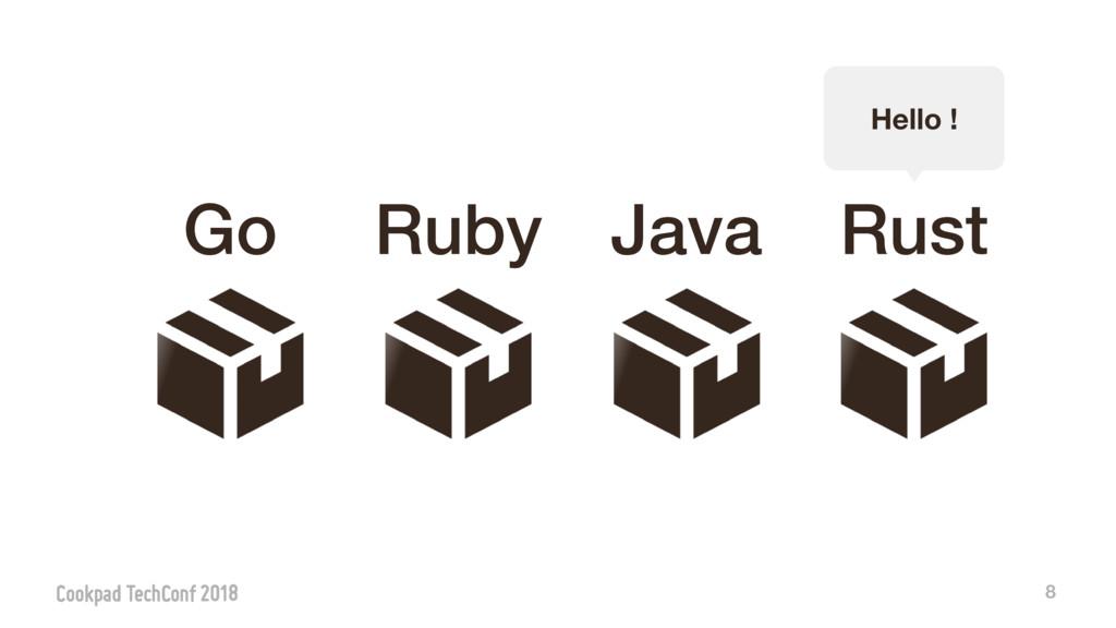 8 Go Java Ruby Rust Hello !