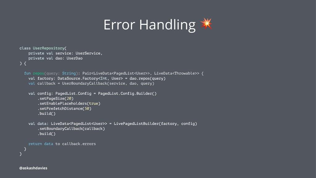 Error Handling class UserRepository( private va...