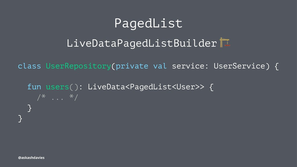 PagedList LiveDataPagedListBuilder class UserRe...