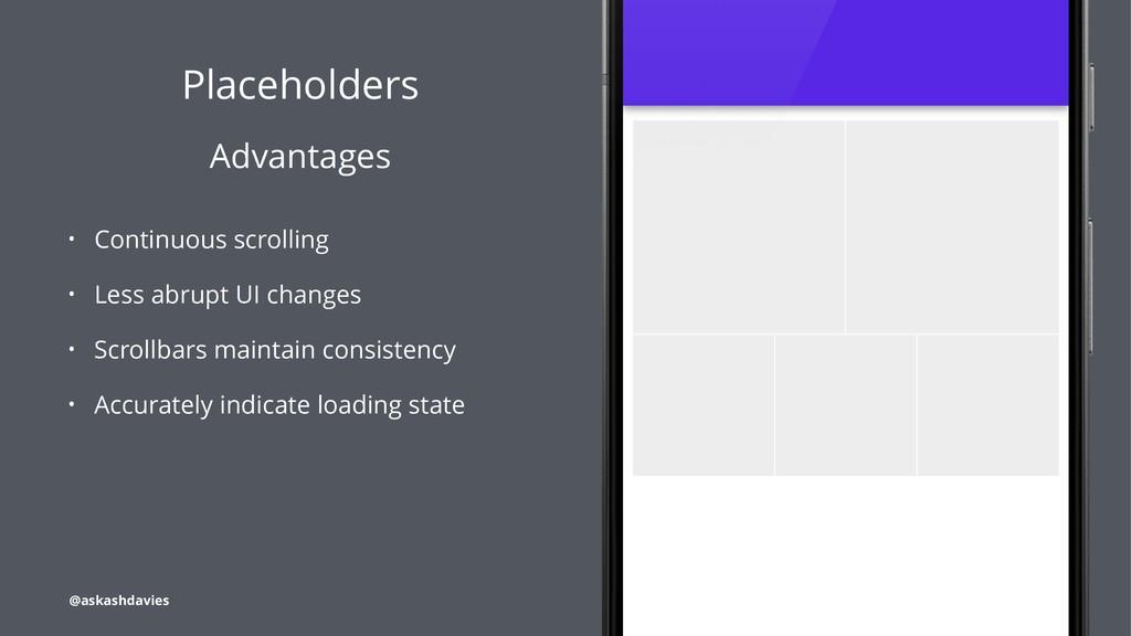 Placeholders Advantages • Continuous scrolling ...