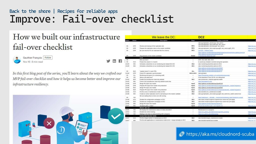 Improve: Fail-over checklist Back to the shore ...