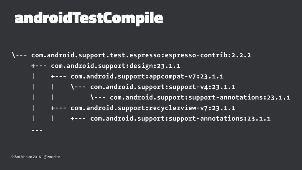 androidTestCompile \--- com.android.support.tes...