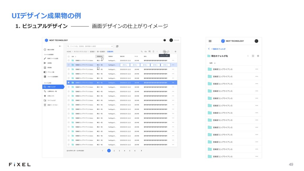 49 UIデザイン成果物の例 1. ビジュアルデザイン 画⾯デザインの仕上がりイメージ