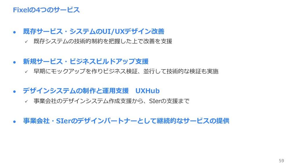 59 Fixelの4つのサービス l 既存サービス・システムのUI/UXデザイン改善 ü 既存...