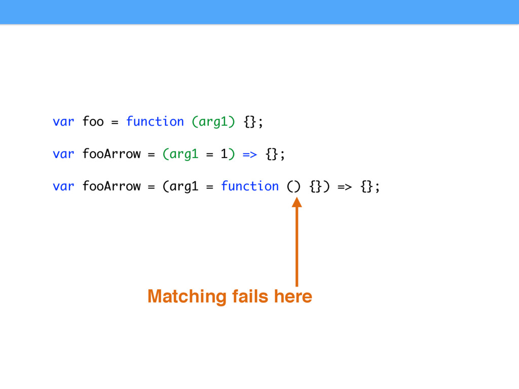 Matching fails here var foo = function (arg1) {...