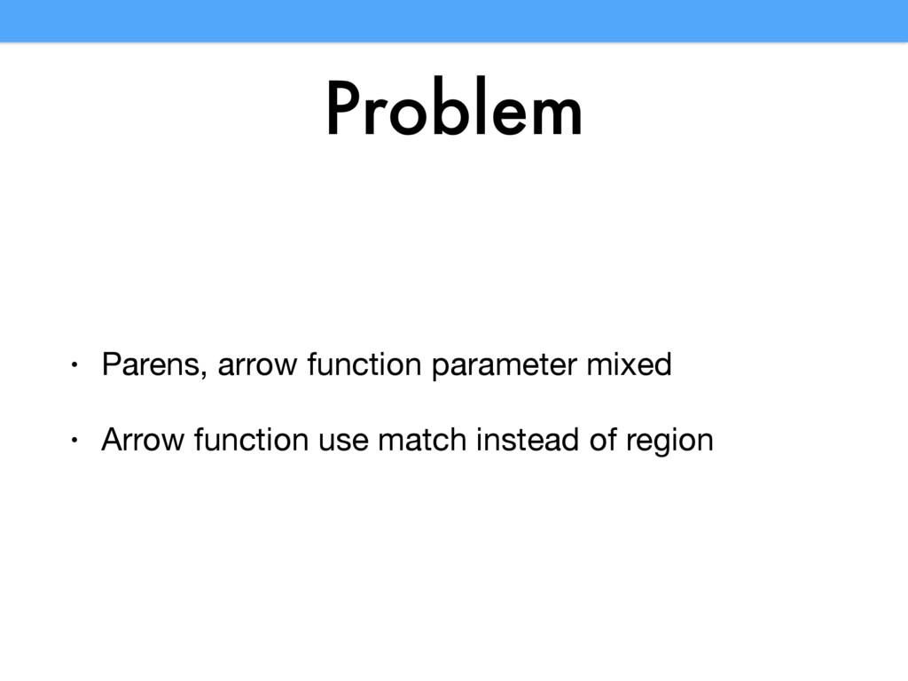 Problem • Parens, arrow function parameter mixe...