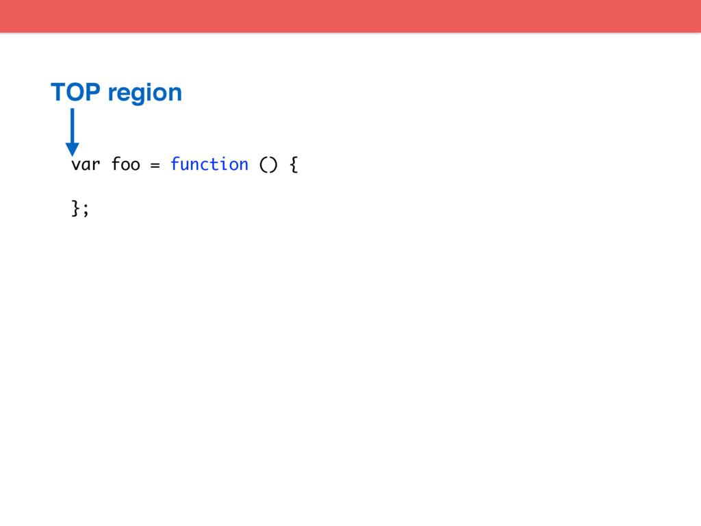var foo = function () { }; TOP region