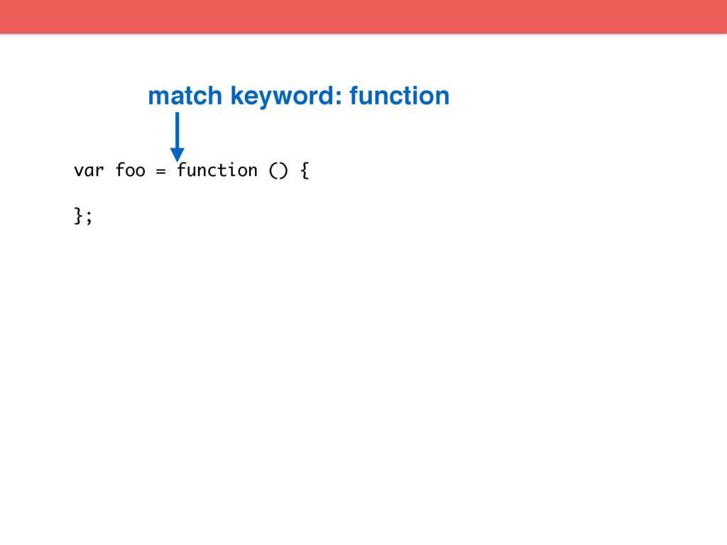 var foo = function () { }; match keyword: funct...