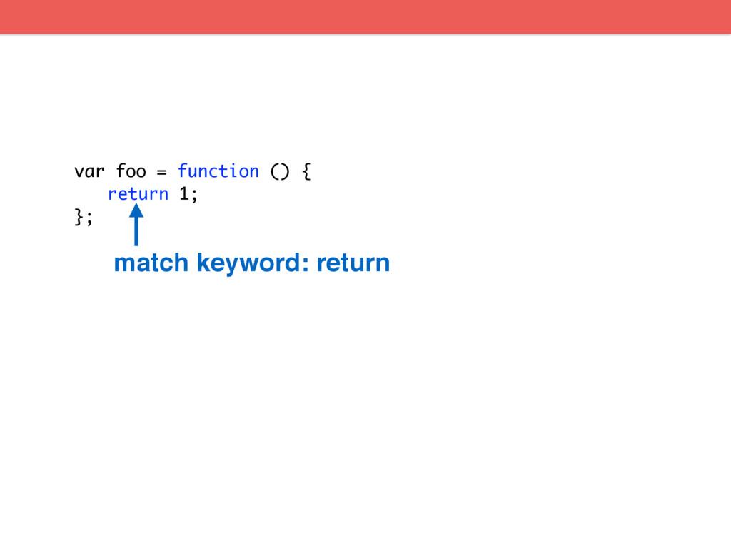 var foo = function () { return 1; }; match keyw...