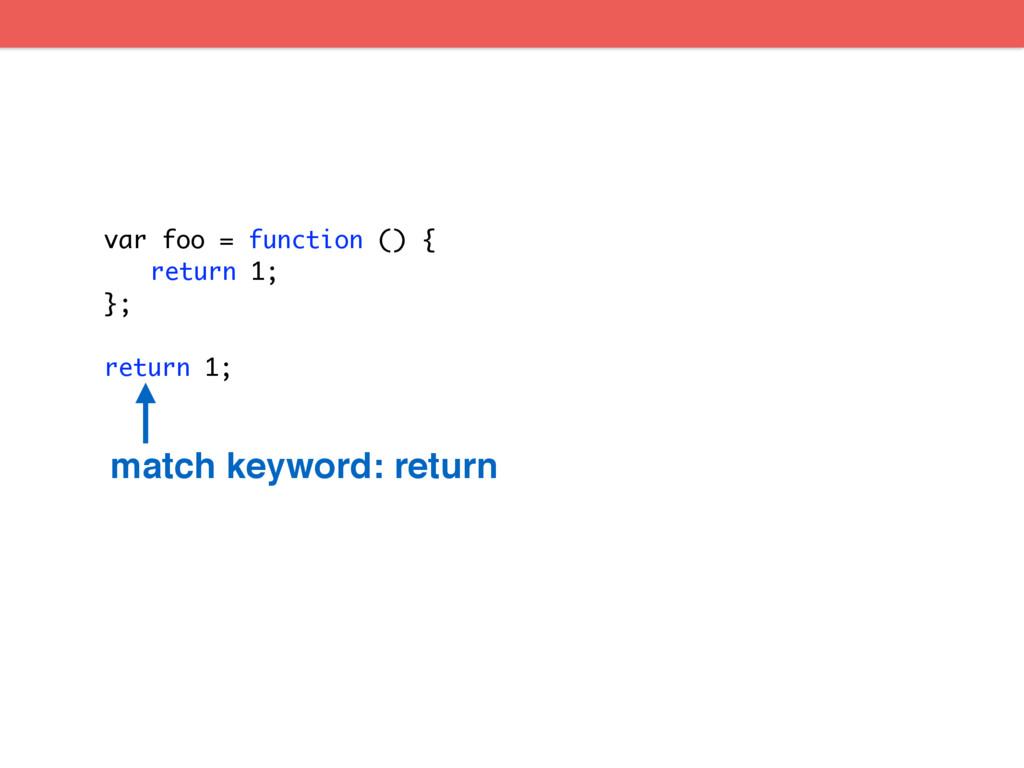 var foo = function () { return 1; }; return 1; ...
