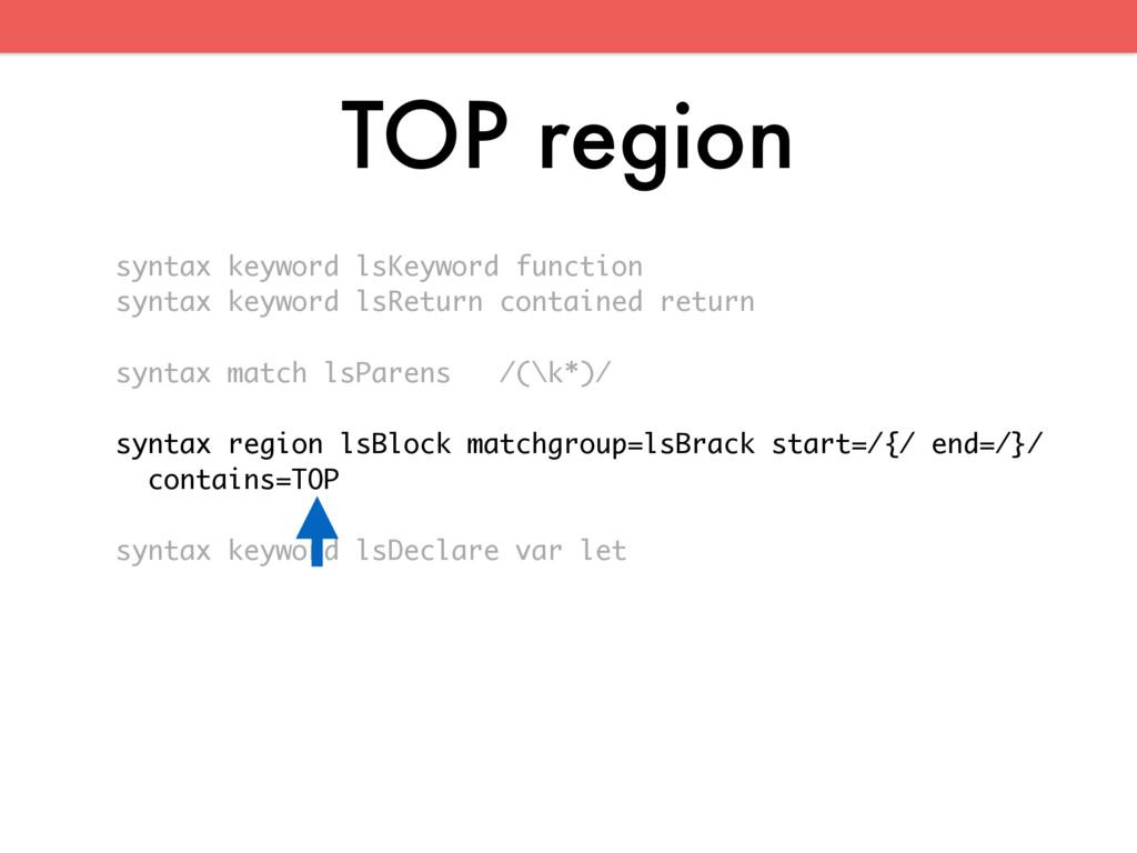TOP region syntax keyword lsKeyword function sy...