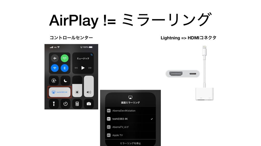 AirPlay != ϛϥʔϦϯά ίϯτϩʔϧηϯλʔ Lightning => HDMIί...