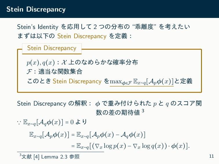 Stein Discrepancy Stein's Identity ΛԠ༻ͯ͠ 2 ͭͷ...