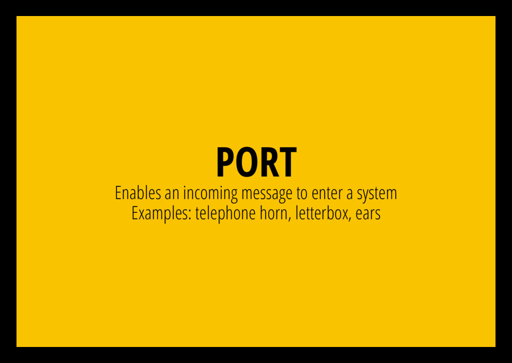 PORT Enables an incoming message to enter a sys...