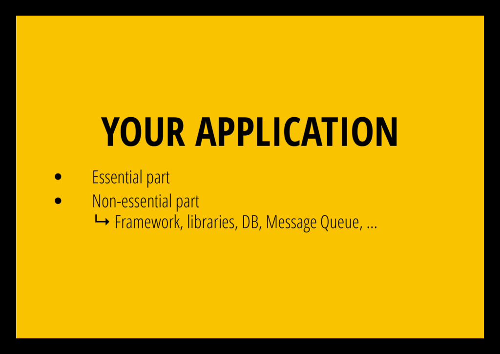 YOUR APPLICATION Essential part Non-essential p...