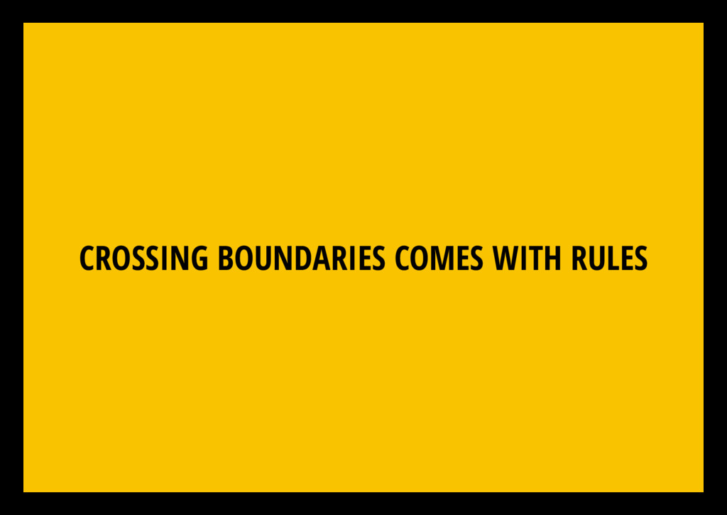 CROSSING BOUNDARIES COMES WITH RULES