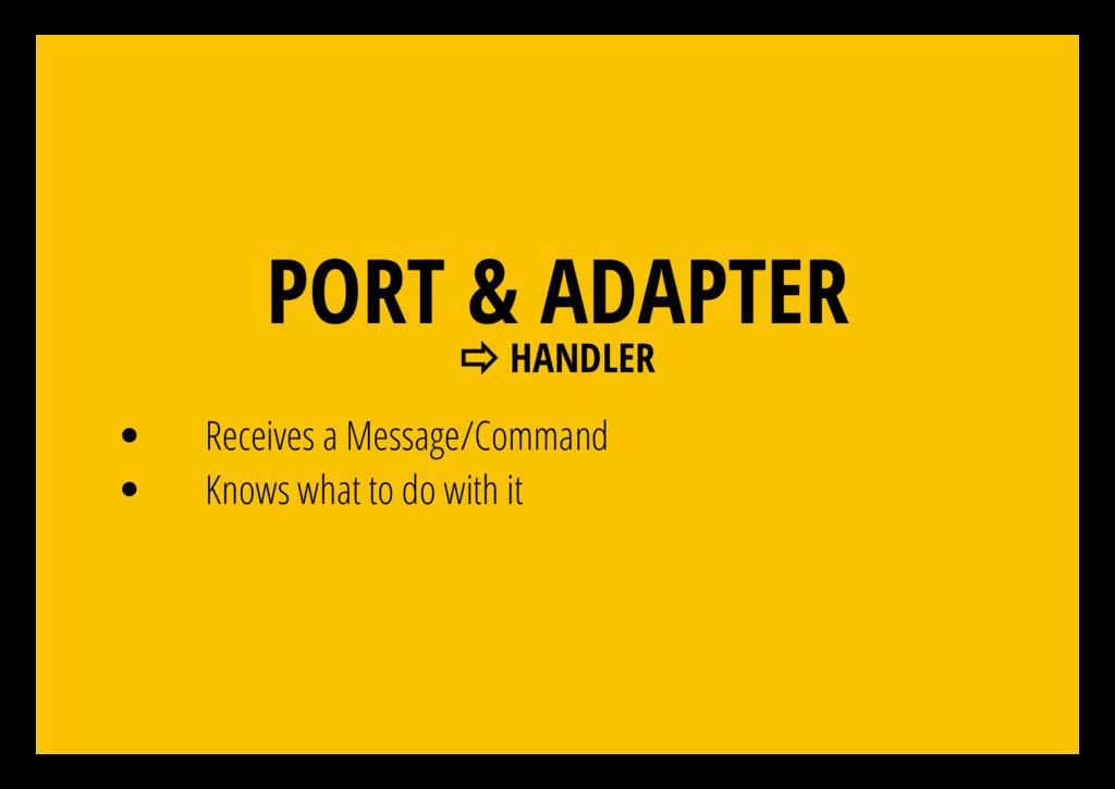 PORT & ADAPTER ⇨ HANDLER Receives a Message/Com...