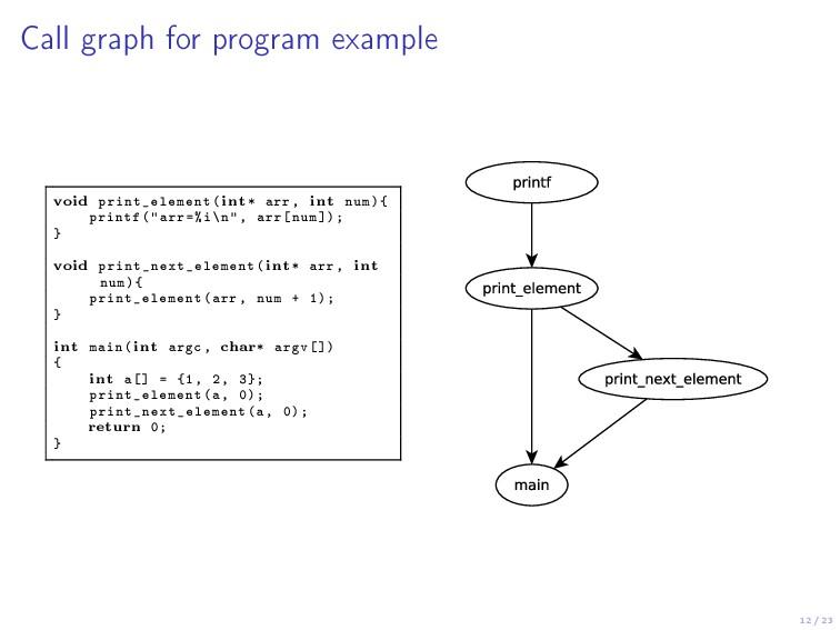 12 / 23 Call graph for program example void pri...