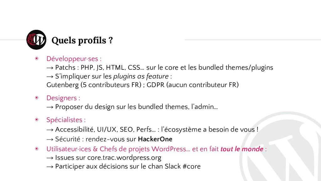 ◉ Développeur·ses : → Patchs : PHP, JS, HTML, C...