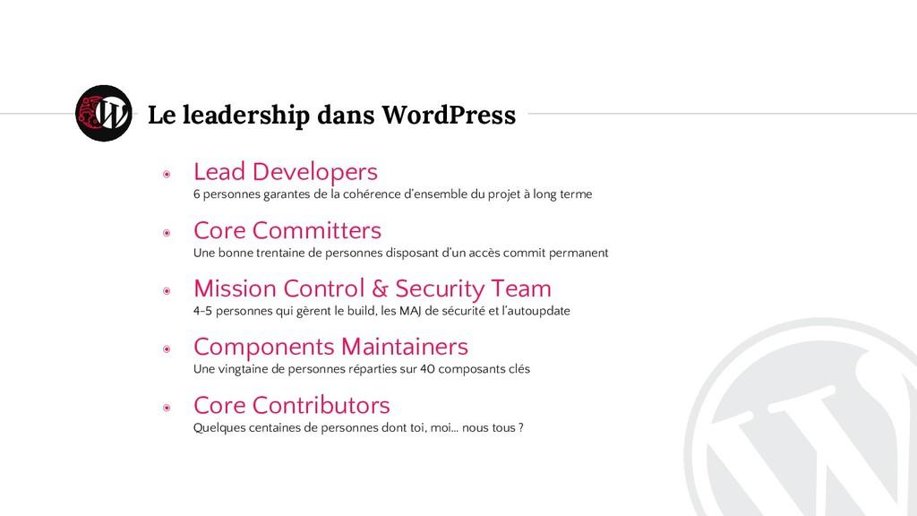 Le leadership dans WordPress ◉ Lead Developers ...