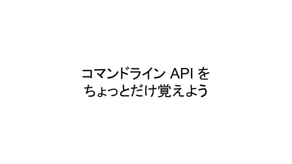 コマンドライン API を ちょっとだけ覚えよう
