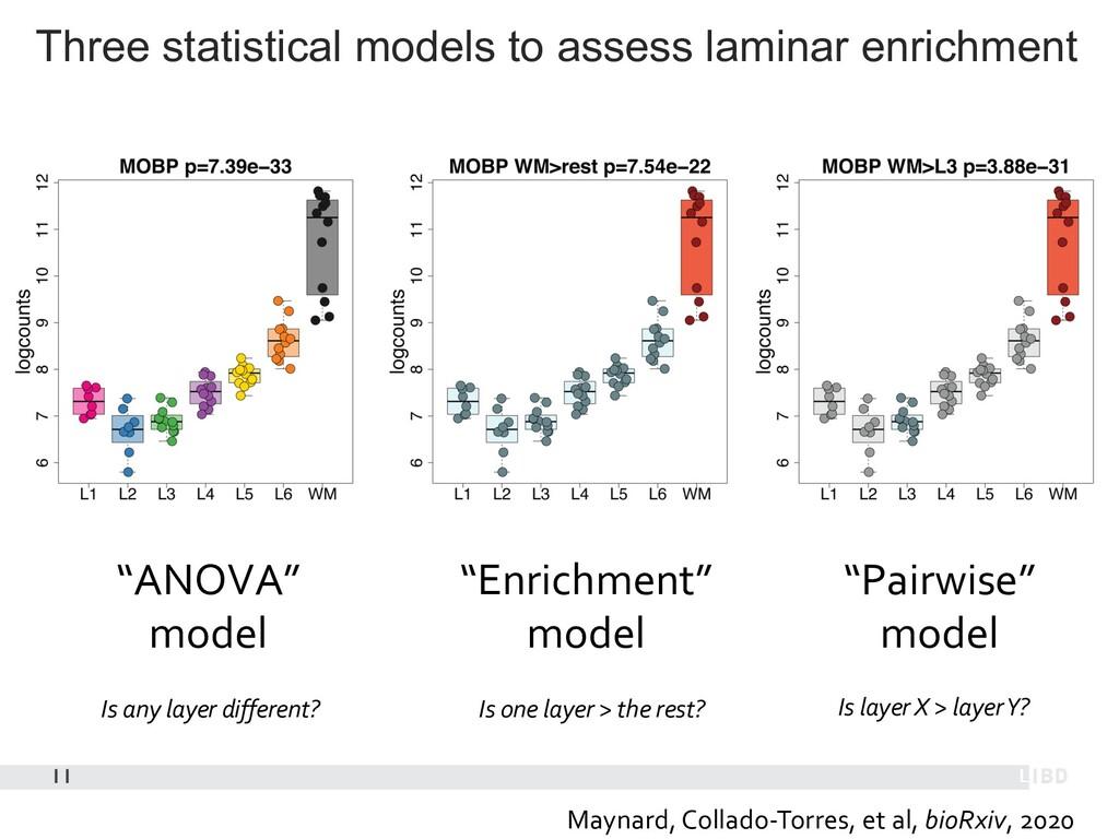 Three statistical models to assess laminar enri...