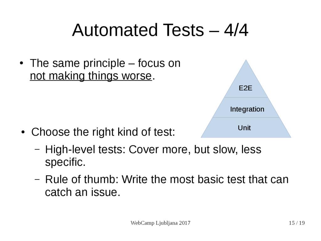 WebCamp Ljubljana 2017 15 / 19 Automated Tests ...