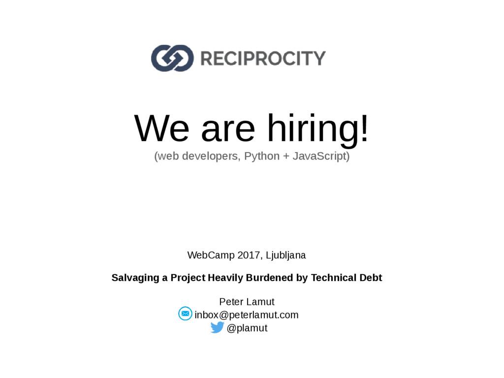 We are hiring! (web developers, Python + JavaSc...