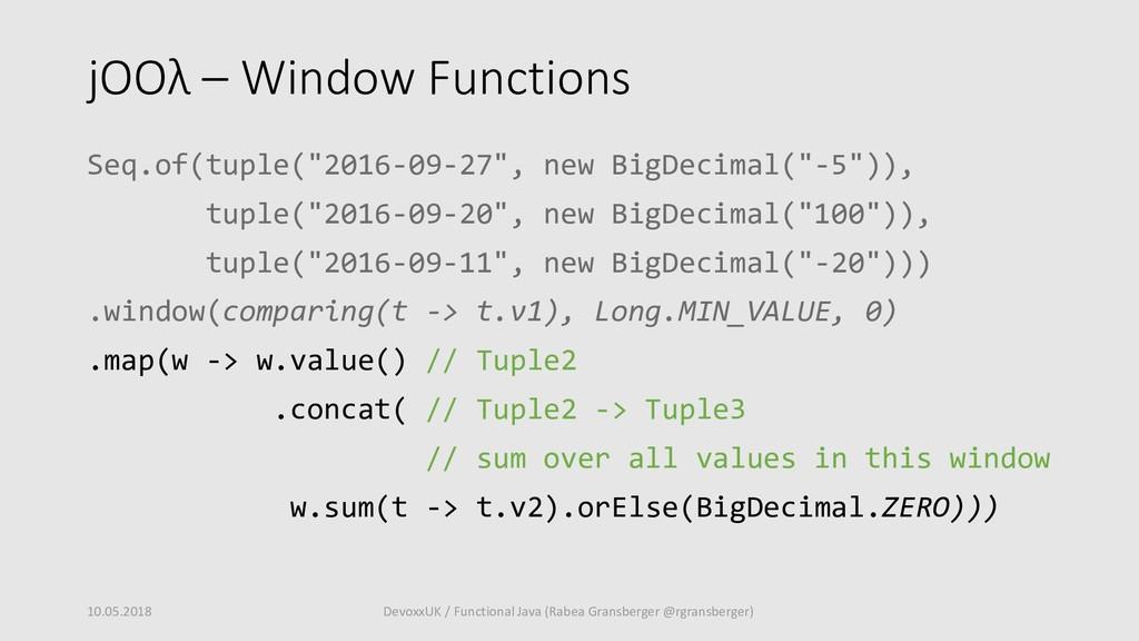 """jOOλ – Window Functions Seq.of(tuple(""""2016-09-2..."""