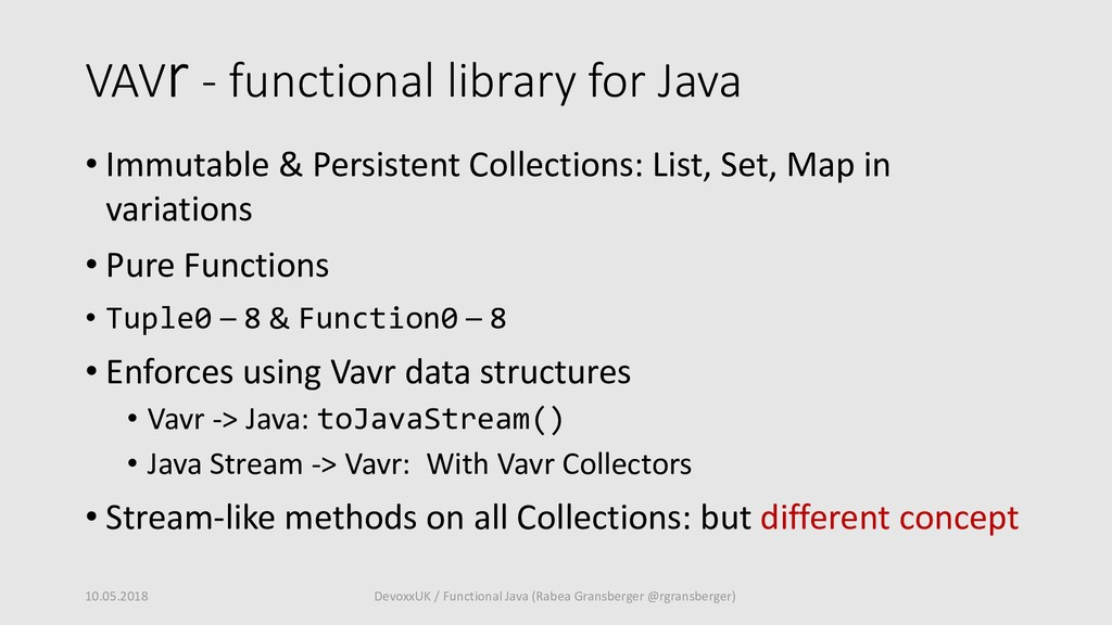 VAVr - functional library for Java • Immutable ...
