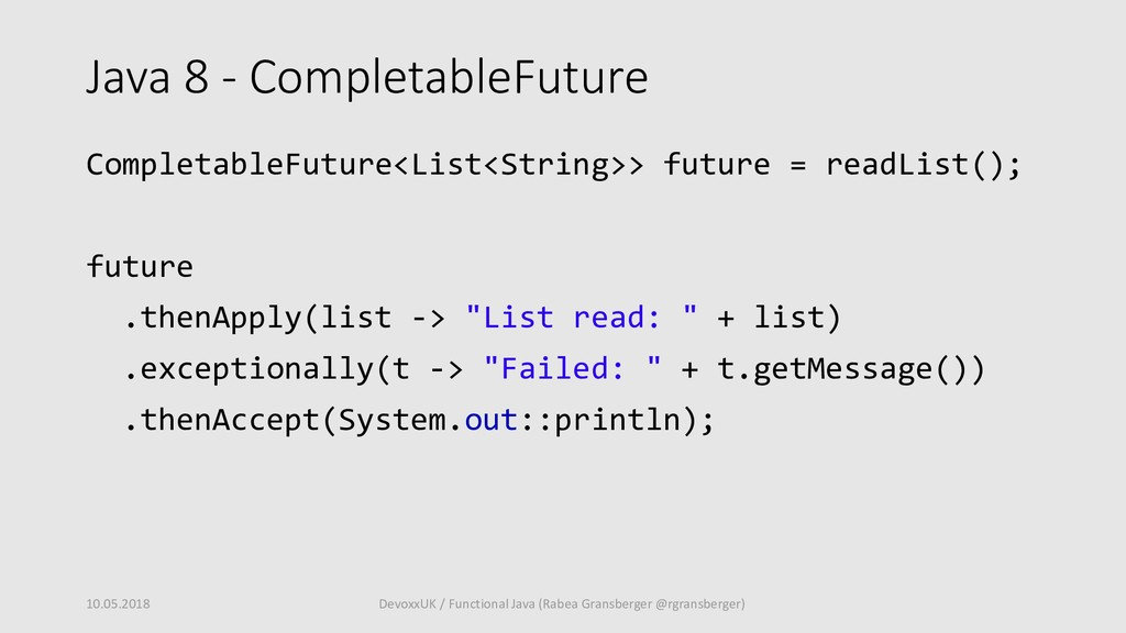 Java 8 - CompletableFuture CompletableFuture<Li...