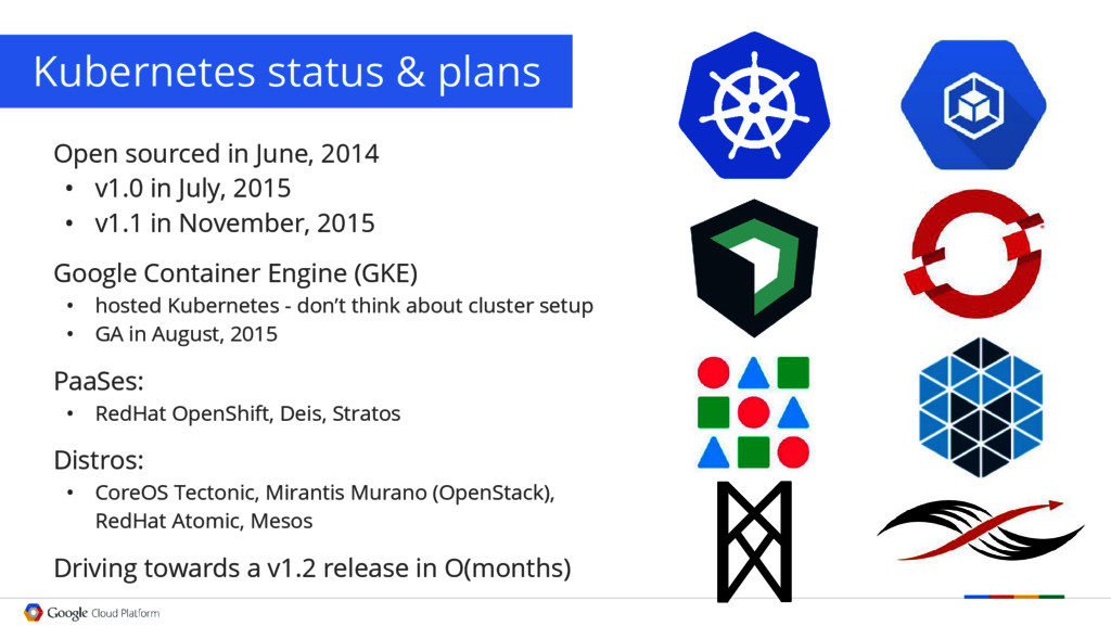 Kubernetes status & plans Open sourced in June,...