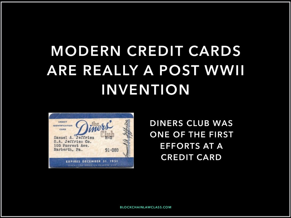 MODERN CREDIT CARDS ARE REALLY A POST WWII INVE...