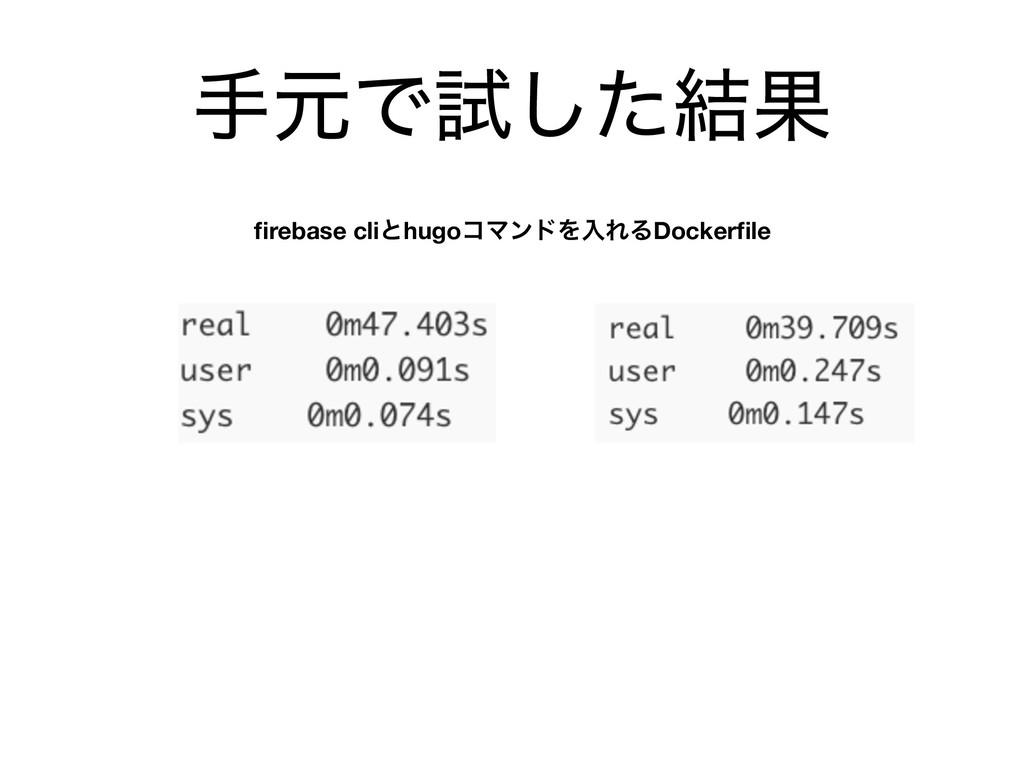 खݩͰࢼͨ݁͠Ռ firebase cliͱhugoίϚϯυΛೖΕΔDockerfile