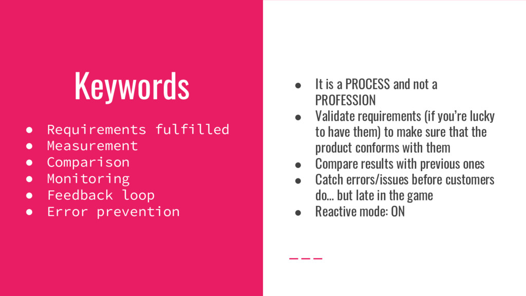Keywords ● Requirements fulfilled ● Measurement...
