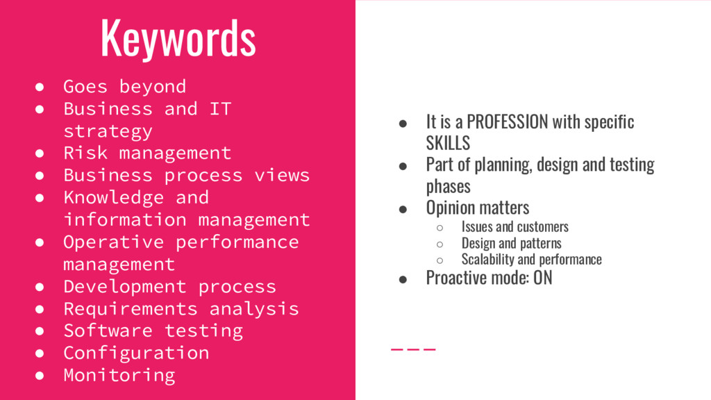 Keywords ● Goes beyond ● Business and IT strate...