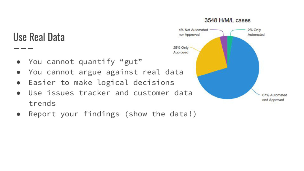 """Use Real Data ● You cannot quantify """"gut"""" ● You..."""