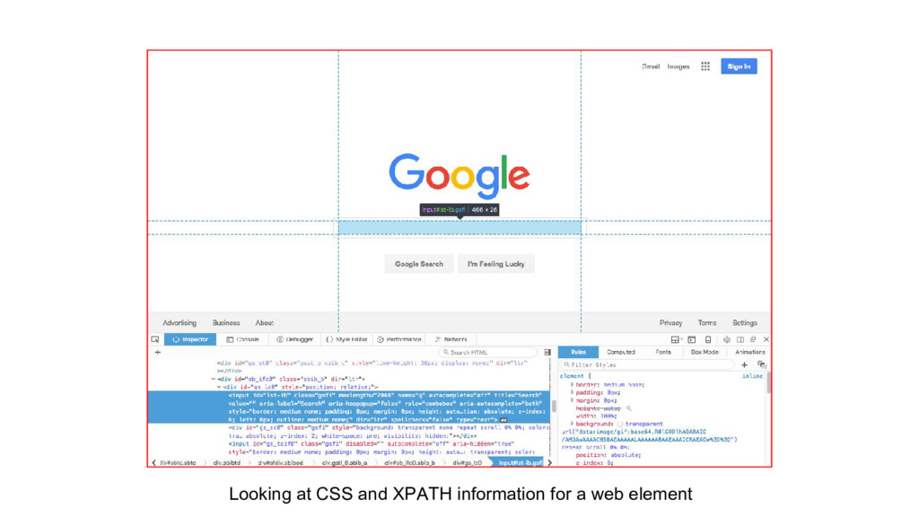 Looking at CSS and XPATH information for a web ...