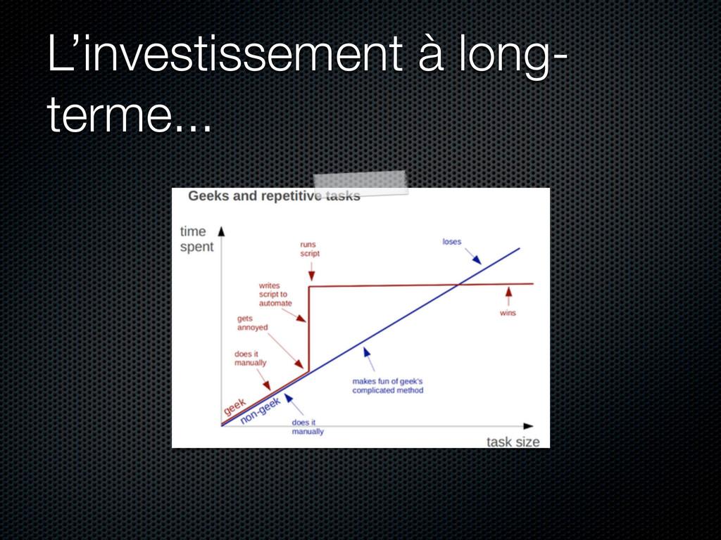 L'investissement à long- terme...